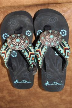 Montana-West-Cowgirl-Western-Stone-Bling-Flip-Flops-Wedge-Sandals-Aztec-AC6