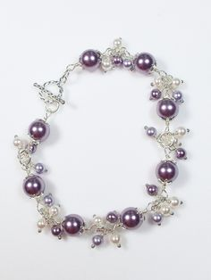 Lavender and White Faux Pearl Sterling Silver Bracelet