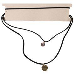 Collier ras du cou en métal doré, suédine et cristal synthétique, 3 rangs