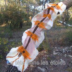 Étole feutre nuno, laine sur voile de coton et soie