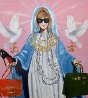 """""""Blessed Mother Of Fashion Acrylic and mixed media on canvas, heavy resin."""" - Ashley Longshore"""