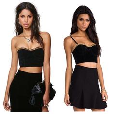 """MinkPink My Way or the Highway Bustier •New!! Never worn!! Comes in original packaging! Also comes with unopened removable straps!                                                          •50% cotton 50% polyester.                                              •Hand wash.                                                                        •Length 6 3/8"""", 23"""" around MINKPINK Tops Crop Tops"""