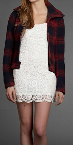"""The Prettiest Lumberjack! Add """"rugged"""" to the Annabel Dress with the warm wool Drew Jacket."""