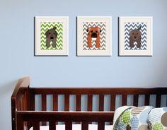 Dog art print chevron baby nursery art for children by Wallfry, $22.00
