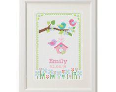 Baby announcement Cross stitch baby Tree Birds cross stitch