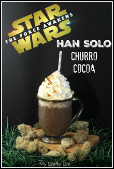 Solo Cocoa In celebration of record breaking numbers during opening weekend I bring you: Han Solo Churro Cocoa!In celebration of record breaking numbers during opening weekend I bring you: Han Solo Churro Cocoa! Non Alcoholic Drinks, Fun Drinks, Yummy Drinks, Yummy Food, Beverages, Cocoa Recipes, Hot Chocolate Recipes, Vegan Chocolate, Star Wars Essen