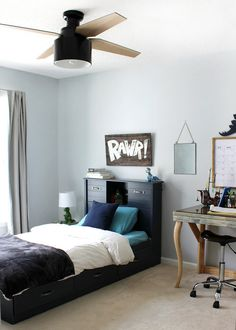 DIY Home Decor Inspiration : Illustration Description A Tween Boy Bedroom Makeover with blue walls -Read More – Boys Bedroom Paint, Boys Bedroom Themes, Bedroom Paint Colors, Bedroom Layouts, Bedroom Designs, Baby Bedroom, Boys Bedroom Colors, Childrens Bedroom, Blue Gray Paint