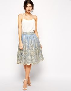 Buy Chi Chi London Premium Metallic Lace Full Midi Skirt at ASOS. Get the latest trends with ASOS now. Chi Chi, The Dress, Dress Skirt, Lace Skirt, Pretty Outfits, Pretty Dresses, Occasion Wear Dresses, Robes D'occasion, Full Midi Skirt