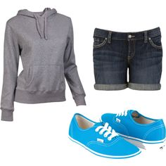 favorite outfit! shorts, sweatshirt and sneakers :) ♥