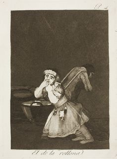 "Francisco de Goya: ""El de la rollona"". Serie ""Los caprichos"" [4]. Etching and aquatint on paper, 205 x 150 mm, 1797-99. Museo Nacional del Prado, Madrid, Spain"