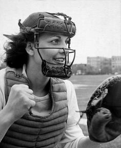 "Catcher Mary ""Bonnie"" Baker of the South Bend Blue Sox once set a grade-school record by throwing a ball 345 feet. (Wallace Kirkland—The LIFE Picture Collection/Getty Images)"