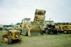 R to L:MRS tractor,Euclid hauler,IH Hough wheel loader,Caterpillar D2