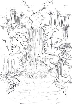 the waterfalls a spectacle coloring page  water works