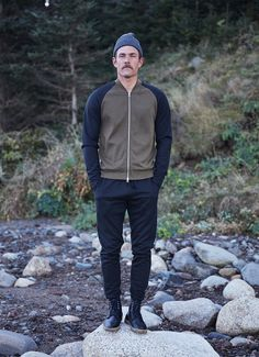 the great outdoors // jogger pants, boots, baseball jacket, knit hat