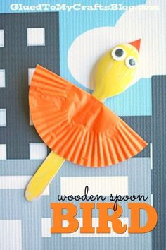 Wooden Spoon Bird Puppet - Low Prep Kid Craft Idea - - Turn an ordinary wood craft spoon into a one-of-a-kind friend this upcoming spring season! Check out our Wooden Spoon Bird Kid Craft. Earth Day Crafts, Valentine's Day Crafts For Kids, Animal Crafts For Kids, Toddler Crafts, Art For Kids, Craft Kids, Bird Crafts Preschool, Daycare Crafts, Jungle Crafts
