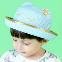 a85a06c552d Cute cat straw blower hats with ears and crown kids sun hat