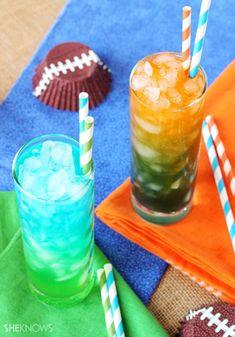 Super fun #SuperBowl mocktails: Broncos vs. Seahawks. I might stir a little vodka into mine!