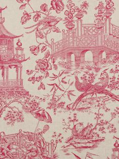 pink Chinoiserie toile | Chinoiserie | More here: http://mylusciouslife.com/photo-galleries/a-colourful-life-colours-patterns-and-textiles/