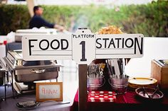 """Train party - """"stations"""" marked with signs Trains Birthday Party, Train Party, 3rd Birthday Parties, 2nd Birthday, Birthday Ideas, Party Stations, Food Stations, Party Labels, Party Printables"""