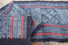 Handwoven Indigo cotton, Hmong  Vintage textiles and fabric- table runner from Thailand
