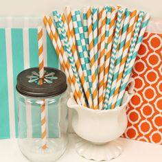 aqua and orange Party Paper Straws