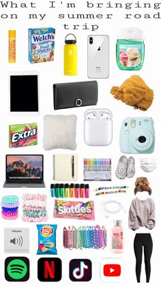 Travel Packing Checklist, Road Trip Packing List, Road Trip Hacks, Travel Bag Essentials, Road Trip Essentials, Teen Life Hacks, Useful Life Hacks, Schul Survival Kits, Vsco