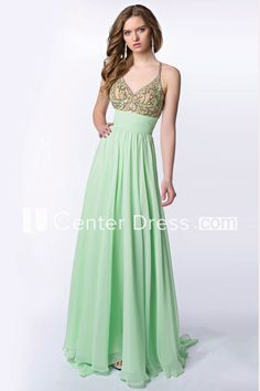 Long Chiffon A-Line V-Neck Homecoming Dress With Pleats And Cross Straps Green Cocktail Dress, Formal Cocktail Dress, Green Dress, Homecoming Dresses, Bridesmaid Dresses, Beaded Prom Dress, Prom Long, Evening Dresses, Formal Dresses