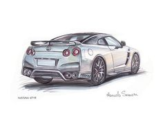 Car Print Nissan GT-R White Automotive Art Muscle by CarsAndMore