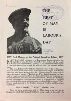 'The First of May is Labour's Day' published by The National Council of Labour, May Days, Freedom, History, Liberty, Political Freedom, Historia