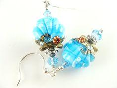 Scallop Lampwork Earrings, Seashell Glass Bead Earrings, Aqua Blue Earrings, Beadwork Earrings, Ocean Earrings, Beach Lampwork Jewelry