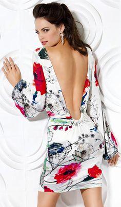 JOVANI - Backless Short Dress. I like the way the dress wraps around that horseshoe in the back.