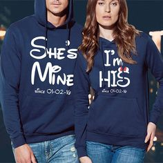 his and hers hoodies / couple hoodies / matching hoodies /