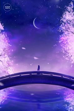 Find images and videos about anime, moon and paisaje anime on We Heart It - the app to get lost in what you love. Fantasy World, Fantasy Art, Anime Scenery, Galaxy Wallpaper, Purple Wallpaper, Flower Wallpaper, Cute Wallpapers, Amazing Art, Cool Art