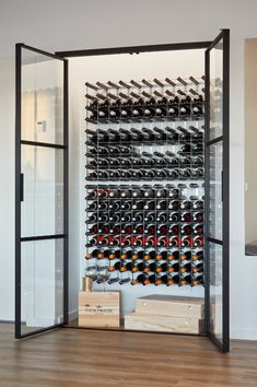 Glass Wine Cellar, Home Wine Cellars, Wine Cellar Design, Beach House Wine, Wine Wall, Wine Cabinets, Wine Storage, Interior Design Kitchen, Home Renovation