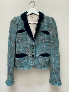 Marc Jacobs blue tweed jacket, velvet accents, size small, wool blend | eBay Marc Jacobs Dress, Tie Skirt, Checked Blazer, Silk Midi Dress, Blue Satin, Tweed Jacket, Dresses Uk, Wool Blend, Velvet