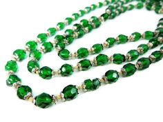 Deco Czech Glass Crystal Bead Necklace Emerald Green