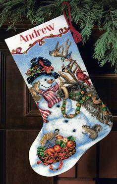 Snowmen Gathering Cross-Stitch Christmas Stocking Kit