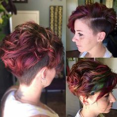 Messy, Curly Short Haircuts for Thick Hair - Balayage Undercut with Short Hair