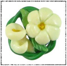 Vintage Celluloid Weeber Type Button, Lilies, Hand Applied, Leaves, Green Border