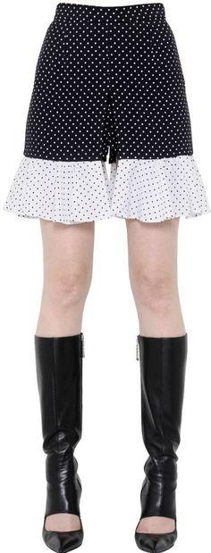 J.W.Anderson Ruffled Polka Dot Printed Crepe Shorts