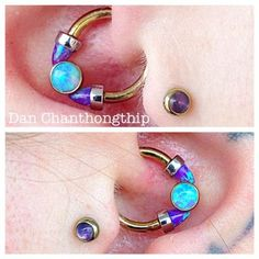 Daith piercing by Dan Chanthonghip of Fidelity Tattoo Co. Jewelry by Anatometal.