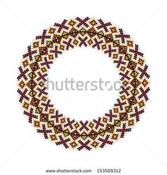 Circle ornament. Round frame, rosette of Slavonic embroidery. Ukrainian national antique round pattern, vector. - stock vector