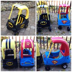 My newly Cozy Coupe Makeover : the Batman Mobile and Superman Car! I enjoy hand painting and customizing these old toys, my kids love them! #cozycoupemakeover #LittleGoobersParty #cozy #coupe #diy #toys #superhero #batman #superman @goobersparty @littlegoobersparty #etsy