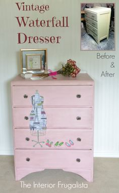 Vintage Waterfall Dresser Before and After using Royal Design Studio products