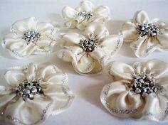 Handmade Cream Ribbon Flower Appliques by BizimSupplies on Etsy, $9.00