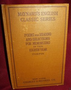 Maynard #English Classic Series #Antique Book 1906 First Edition 8th Grade Poems Readings.
