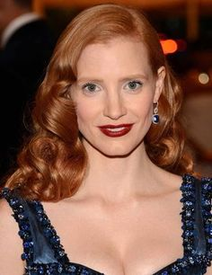 Jessica Chastain Redhead Makeup for Redheads Very Easy Hairstyles, Formal Hairstyles For Long Hair, Side Part Hairstyles, Long Wavy Hair, Retro Hairstyles, Girl Hairstyles, Straight Hairstyles, Long Hair Styles, Short Hair