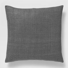 Solid Silk Hand-Loomed Pillow Cover - Slate | West Elm
