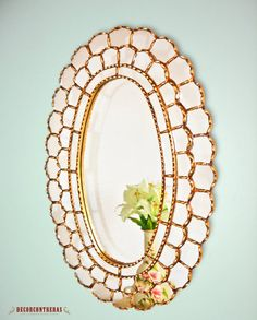 Gold Large Oval Mirror Flower of Life Handmade por DECORCONTRERAS