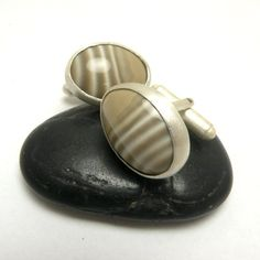 Gligan  silver cufflinks with striped flint by MadeBySunflower, $45.00